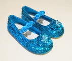Coastal Projections Sparkly Sequined Turquoise Shoes w/Rosettes & Flower 0inf-10