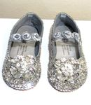 Coastal Projections Sparkly Silver Sequined Shoes w/Rosettes