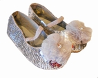 Coastal Projections Sparkly Silver Sequined Shoes w/Organza Flower 0 1 7 11 12 1