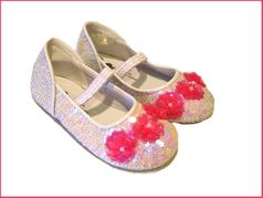 Coastal Projections White Irridescent Shoes w/Hot Pink Flowers