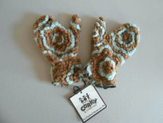 Corky & Co Brown & Turquoise Girls Mittens 4/6x