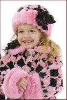 "Corky & Co ""Grandma's Attic"" Pink & Brown Faux Fur Hat 4/6X"