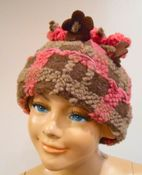 "Corky & Co ""Highland Heart"" Pink & Brown Plaid Flower Hat Toddler"