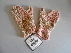 "Corky & Co ""Tea Time"" Mittens Brown Pink & Ivory Toddler 4/6X"