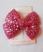 Couture Clips Fancy Irredecent Dark Pink Structured Bow