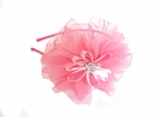 Couture Clips Hot Pink Tulle Flower Bow w/Crown Center on Clip or Headband
