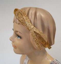 Couture Clips Large Glitter Bow Gold Headband
