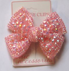 Melinas Bowtique Pink Structured Irridescent Hair Bow