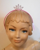 Couture Clips Silver Princess Crown on Hot Pink  Headband