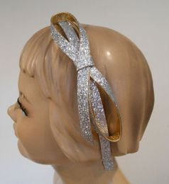 Couture Clips Silver & Gold Glitter Bow Headband