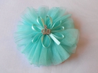 Couture Clips Turquoise Princess Tulle Crown Hair Clip