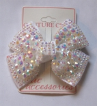 Melina's Bowtique White Iridescent Beads Hair Bow