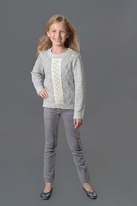 Creamie Cute & Warm Grey Melange Sweater w/Ivory Lace 4 5 6