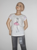 Creamie White Tee w/Girls Sillouette & Sequined Sleeves 6