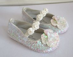 Custom Design Sparkly Ivory Seqiined Girls Shoes