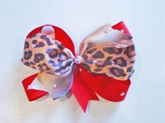 Custom Red &  Leopard Bling Hair Bow on Alligator Clip