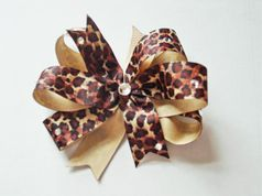 Custome Large Leopard Print Bow w/Crystals