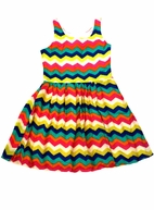 Elisa B Daisy Jane Colorful Multi Chevron Print Girls Dress 8 12