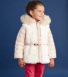 Dave & Bella Belted Faux Fur Blush Pink Hooded Jacket  8/9