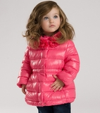 Dave & Bella Bright Pink Hooded Down Fill Jacket w/Flower Neck 4