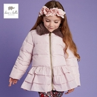 Dave & Bella Dusty Pink Ruffle Girls Jacket w/Faux Fur Collar 4