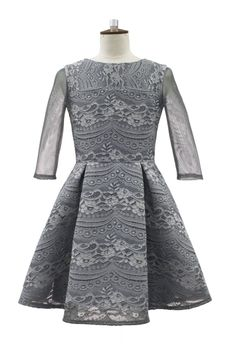 David Charles Grey lace Overlay Tween party Dress 13 last 1