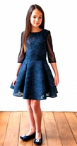David Charles Navy lace Overlay Tween Party Dress 12 last 1