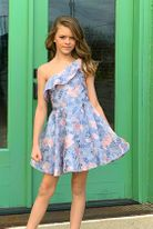 Dolls & Divas Blue & Pink Organza Very Special 1 Shoulder Girls Dress