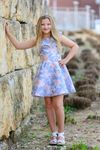 Dolls & Divas Blue & Pink Organza Jacquard Girls Jr Prom Dress