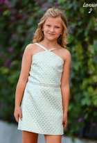 Dolls & Divas Aqua & Gold Brocade Tween Girls Graduation Dress