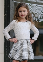 Dolls & Divas Ivory & Black Plaid Girls Dress L/Sleeves 4 8