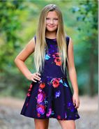 Dolls & Divas Floral Girls Skater Dress Daddy Daughter Dance