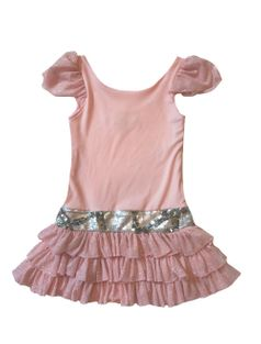Dolls & Divas Pink Sparkly Drop-Waist Girls Ruffle Dress  sz 10 last 1
