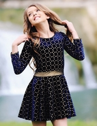 Dolls & Divas Navy/Gold Laser Cut Velvet Girls Dress *Top Seller*