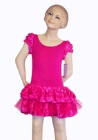 Dolls & Divas Fuschia Pink Rosettes Tutu dress w/cap Sleeves sz  4