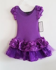 Dolls & Divas  Stunning Purple Rosettes & Tulle Baby Girls  Dress  18M