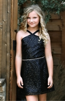 Dolls & Divas Sophisticated Black Sequin tween Girls Dress