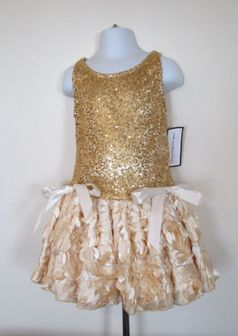 Dolls & Divas  Gold & Ivory Rosettes Girls Dress 12m 18m 5