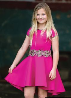 Dolls & Divas Strawberry Pink Hi Low Girls Dress Daddy Daughter Dance