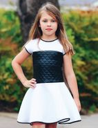 Dolls & Divas Mel Short Sleeves White/Black Girls Scuba Dress *Top Seller*