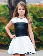 Dolls & Divas Mel Short Sleeves White/Black Girls Scuba Dress 5 6 10 16
