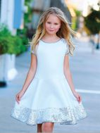 Dolls & Divas White Girls Sequin Scuba Dress Graduation Wedding