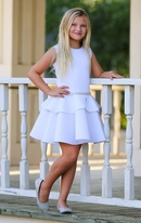 Dolls & Divas White Girls Peplum Dress w/Rhinestones 14