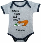"Dr.Seuss ""Green Eggs & Ham"" Vintage Grey Baby Onesie 6m"