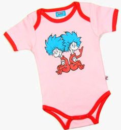 """Dr.Seuss """"Thing 1, Thing 2 """"Pink and Red Onesie 6m 9m 12m"""