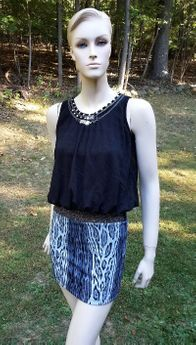 Elisa B  2pc Black Jewelled Top & Studded  Animal Print Skirt 12