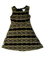 Elisa B Black & Gold Lace Fit & Flare Girls Dress 7 12