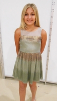 Elisa B  Green & Gold Gorgeous Tween Sequined Dress  12