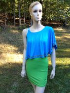 Elisa B  off Shoulder Overlay Turq & Green Dress 16 Last 1