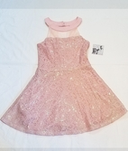 Elisa B Pink Sequin Lace Stunning Fit'n'Flare Tween Dress  16 Last 1